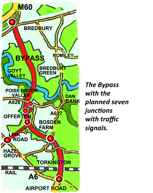 Bypass map with traffic lights captioned