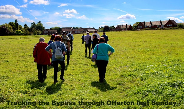 Tracking the Bypass across Offerton field in sunshine.