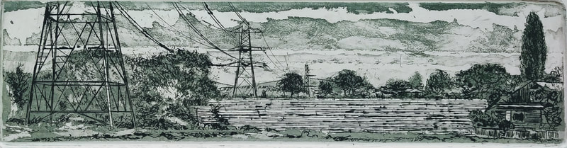 Painting Goyt pylons etching